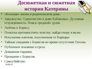 * Досюжетная и сюжетная история Катерины «Вольная» жизнь в родительском доме.