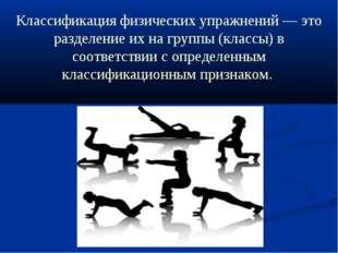 Классификация физических упражнений — это разделение их на группы (классы) в