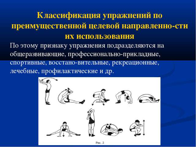Классификация упражнений по преимущественной целевой направленности их испол...