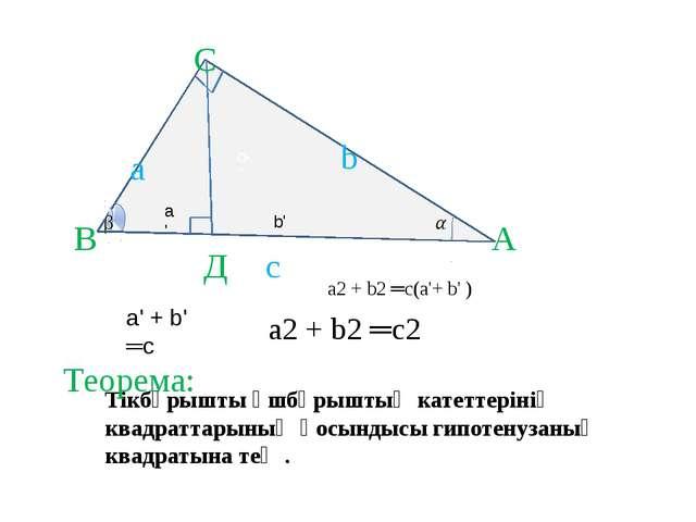 b ' А В Д С с а а' b b' а2 + b2 ═с(а'+ b' ) а' + b' ═с а2 + b2 ═с2 Тікбұрышты...
