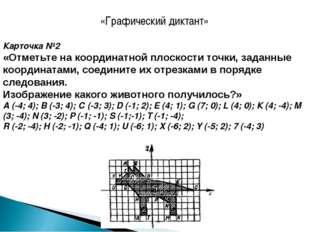 «Графический диктант» Карточка №2 «Отметьте на координатной плоскости точки,