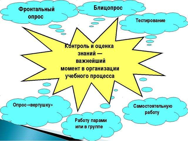 Блицопрос Фронтальный опрос Опрос-«вертушку» Работу парами или в группе Самос...