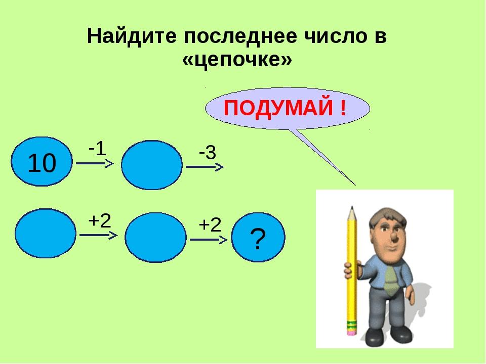 Найдите последнее число в «цепочке» ПОДУМАЙ ! 10 1 3 +2 +2 ?