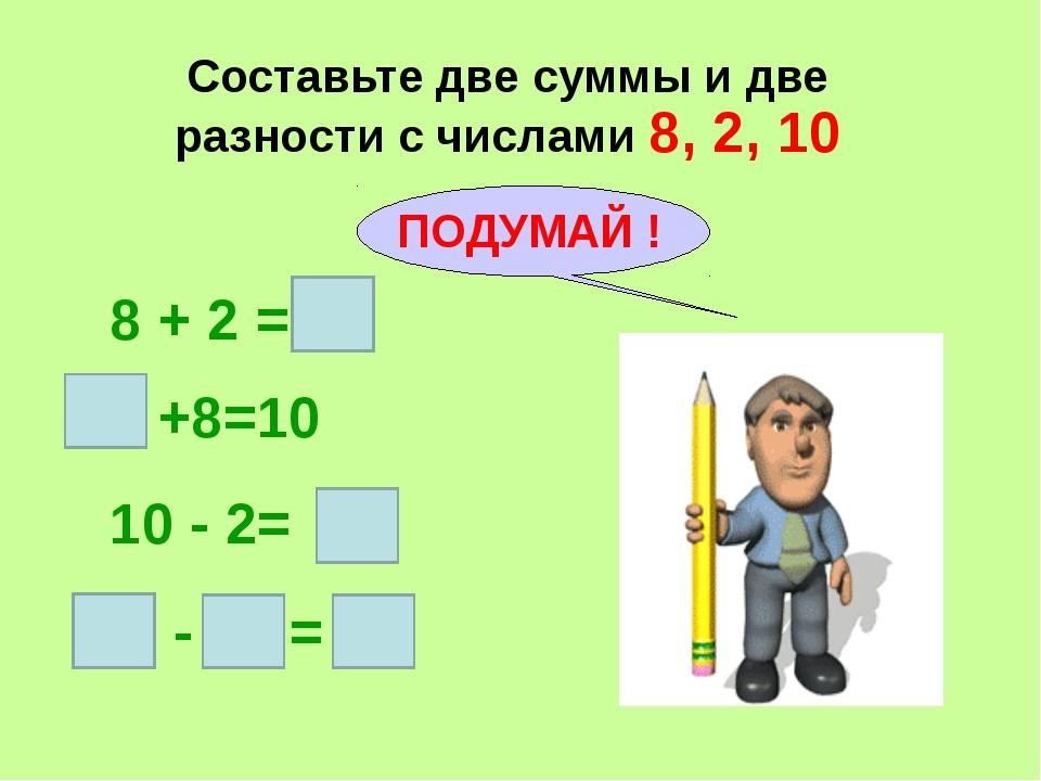 Составьте две суммы и две разности с числами 8, 2, 10 8 + 2 = +8=10 10 - 2= -...