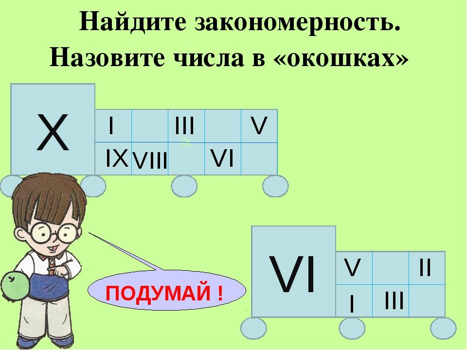Найдите закономерность. Назовите числа в «окошках» IX Х I III V IX VI VI V I...
