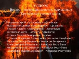 СПИСОК Воинов – интернационалистов, выпускников Крутцовской средней школы Ром