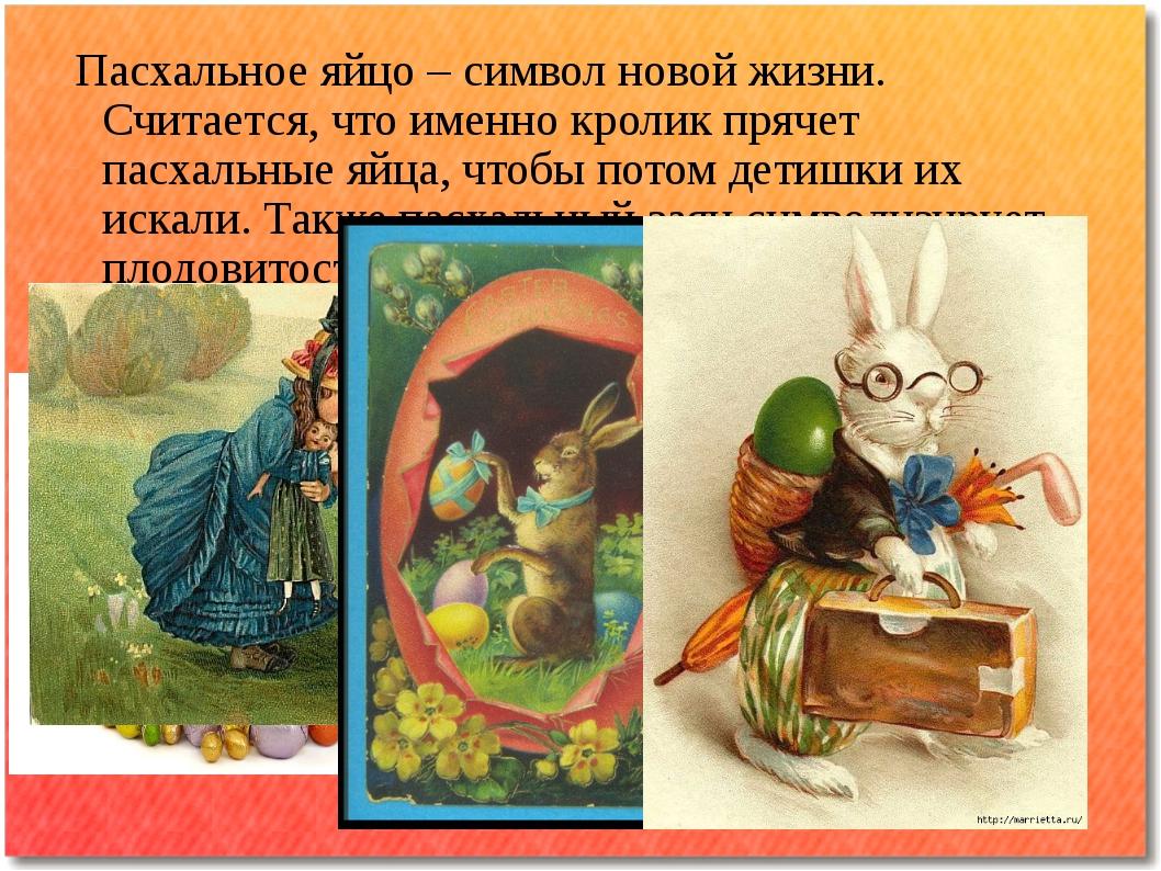 Пасхальное яйцо – символ новой жизни. Считается, что именно кролик прячет па...