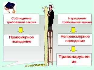 Правомерное поведение Соблюдение требований закона Нарушение требований закон