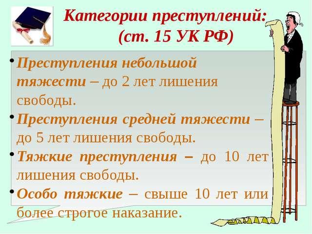 Категории преступлений: (ст. 15 УК РФ) Преступления небольшой тяжести – до 2...