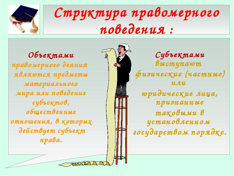 Структура правомерного поведения : Субъектами выступают физические (частные)...