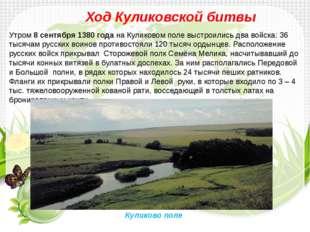 Ход Куликовской битвы Утром8 сентября 1380 годана Куликовом поле выстроилис