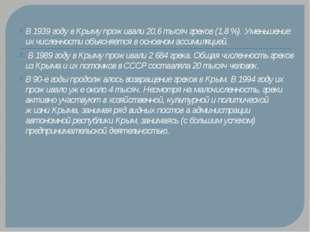 В 1939 году в Крыму проживали 20,6 тысяч греков (1,8 %). Уменьшение их числен
