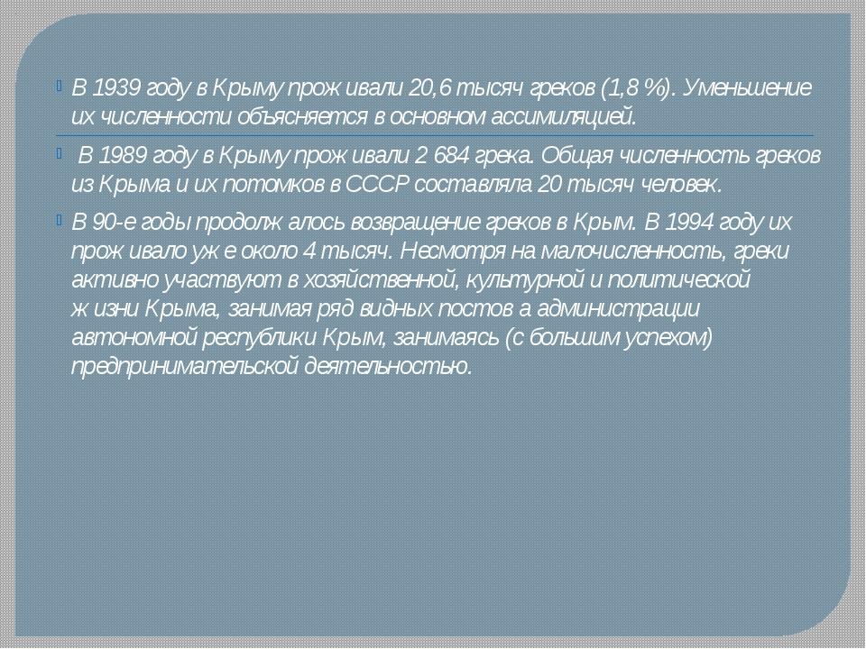 В 1939 году в Крыму проживали 20,6 тысяч греков (1,8 %). Уменьшение их числен...