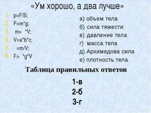 «Ум хорошо, а два лучше» p=F/S; F=m*g; m=ρ*V; V=a*b*с; ρ=m/V; F=ρ*g*V а) объе