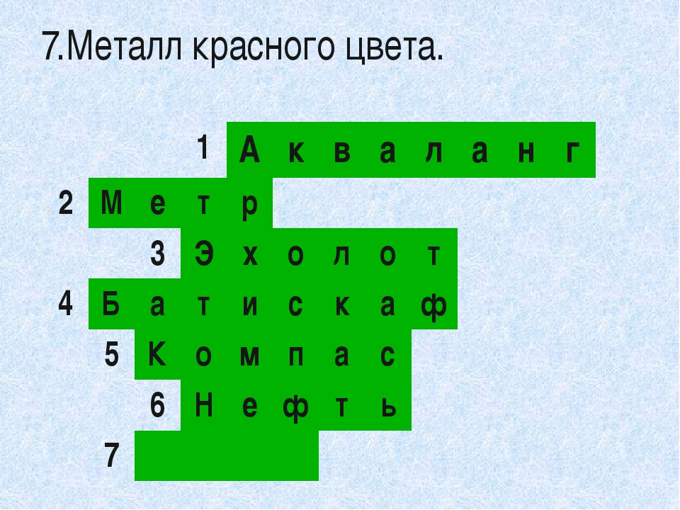 1 А к в а л а н г 2 М е т р 3 Э х о л о т 4 Б а т и с к а ф 5 К о м п а с 6...