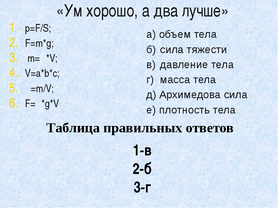 «Ум хорошо, а два лучше» p=F/S; F=m*g; m=ρ*V; V=a*b*с; ρ=m/V; F=ρ*g*V а) объе...