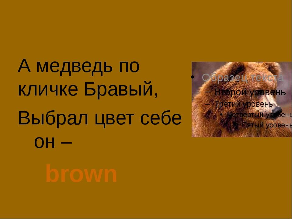 А медведь по кличке Бравый, Выбрал цвет себе он –  brown