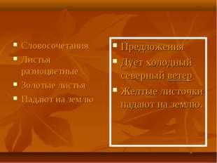 Словосочетания Листья разноцветные Золотые листья Падают на землю Предложения