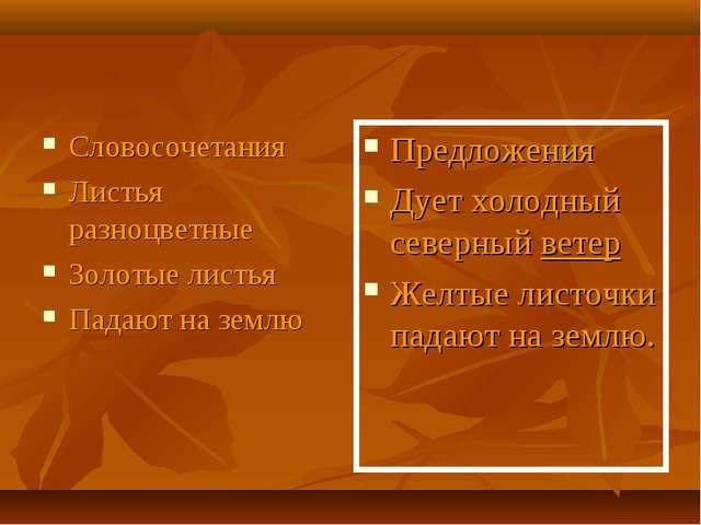 Словосочетания Листья разноцветные Золотые листья Падают на землю Предложения...