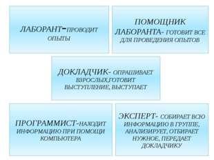 ЛАБОРАНТ-ПРОВОДИТ ОПЫТЫ ПОМОЩНИК ЛАБОРАНТА- ГОТОВИТ ВСЕ ДЛЯ ПРОВЕДЕНИЯ ОПЫТОВ