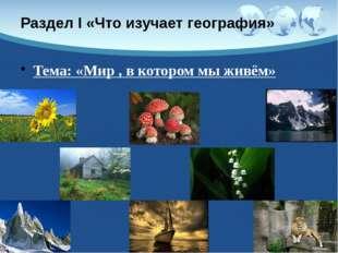 Раздел I «Что изучает география» Тема: «Мир , в котором мы живём»