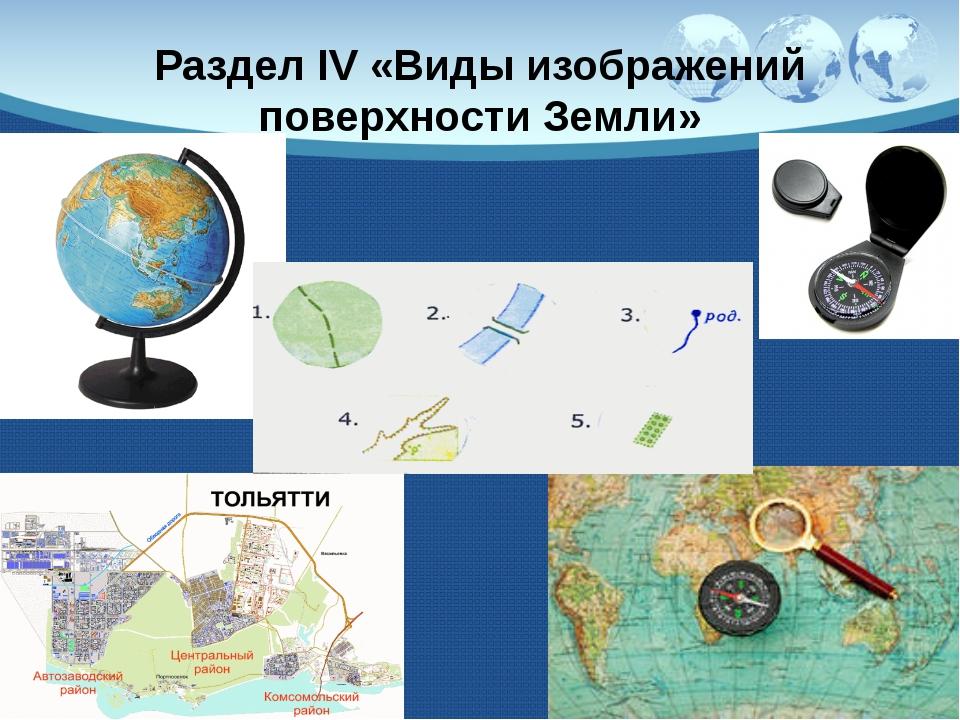 Раздел IV «Виды изображений поверхности Земли»