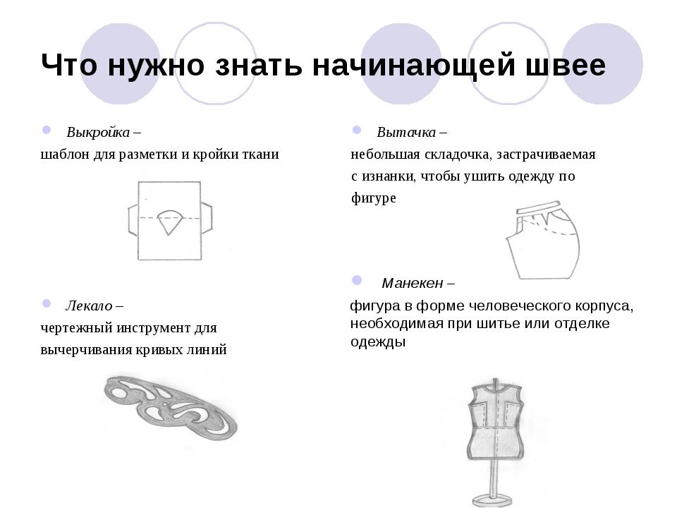 Что нужно знать начинающей швее Выкройка – шаблон для разметки и кройки ткани...