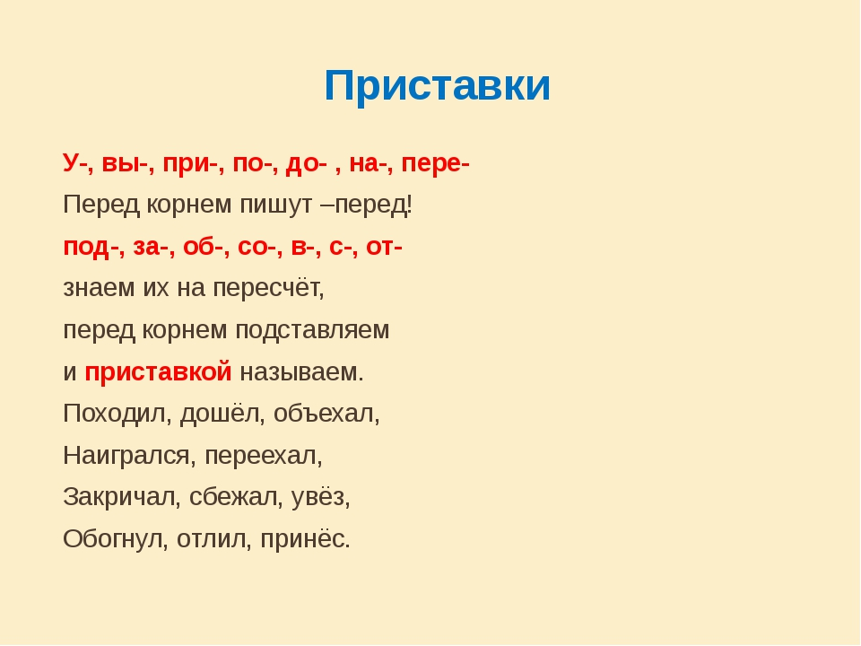 Приставки У-, вы-, при-, по-, до- , на-, пере- Перед корнем пишут –перед!...