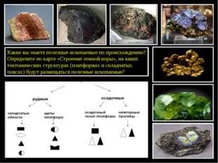 Какие вы знаете полезные ископаемые по происхождению? Определите по карте «С