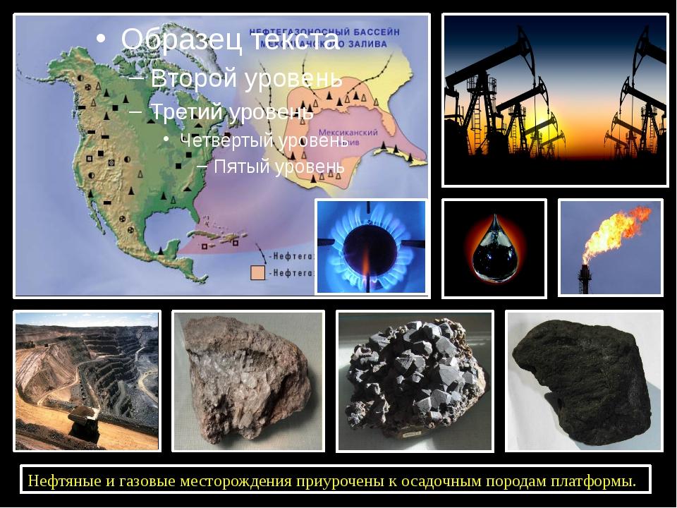Нефтяные и газовые месторождения приурочены к осадочным породам платформы.