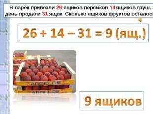 В ларёк привезли 26 ящиков персиков 14 ящиков груш. За день продали 31 ящик.