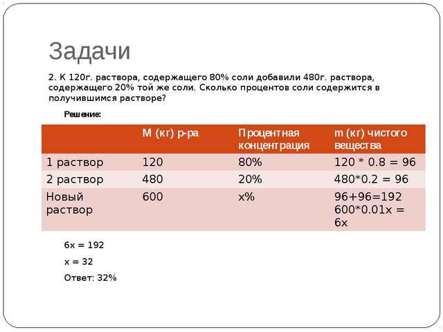 Задачи 2. К 120г. раствора, содержащего 80% соли добавили 480г. раствора, сод...