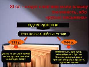 ХІ ст. - східні слов'яни мали власну писемність, або «руські письмена» 911 р.