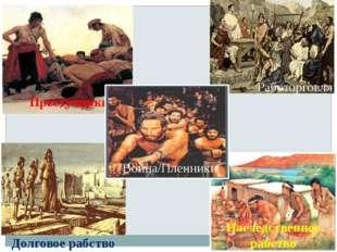 Работорговля Наследственное рабство Долговое рабство Война/Пленники Вспомните