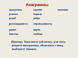Анаграммы Пример: Заполните табличку, для чего, решите анаграммы, объясните
