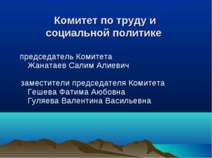 председатель Комитета Жанатаев Салим Алиевич заместители председателя Ком