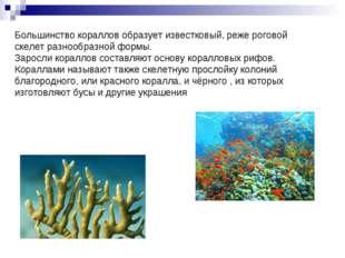 Большинство кораллов образует известковый, реже роговой скелет разнообразной