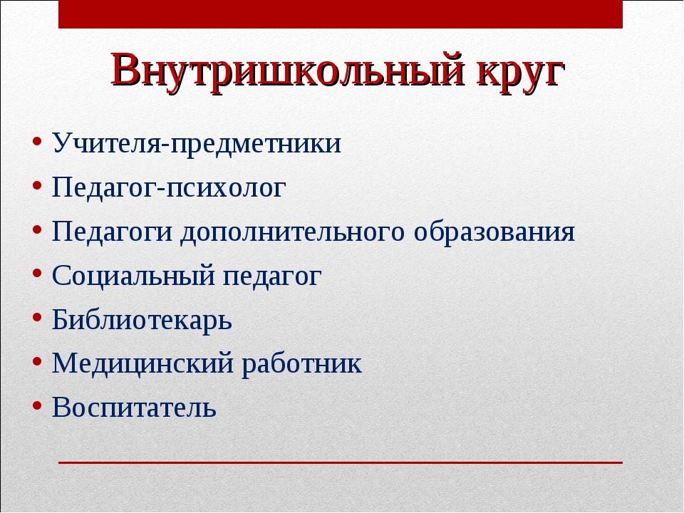 Внутришкольный круг Учителя-предметники Педагог-психолог Педагоги дополнитель...