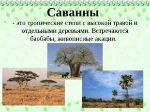 Саванны - это тропические степи с высокой травой и отдельными деревьями. Встр
