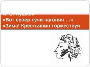 А. С. Пушкин «Вот север тучи нагоняя …» «Зима! Крестьянин торжествуя …»