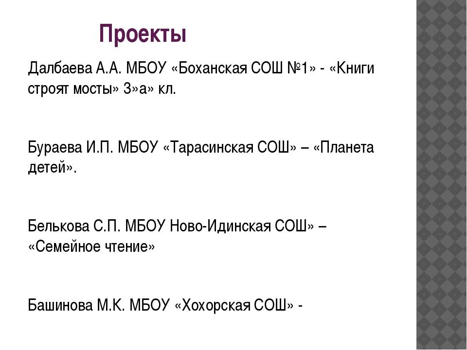 Проекты Далбаева А.А. МБОУ «Боханская СОШ №1» - «Книги строят мосты» 3»а» кл...
