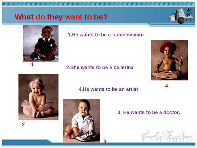 What do they want to be? 3 2 1 4 1.He wants to be a businessman 2.She wants t...