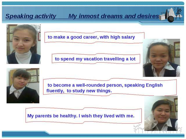Speaking activity My inmost dreams and desires to make a good career, with hi...