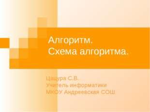 Алгоритм. Схема алгоритма. Цацура С.В. Учитель информатики МКОУ Андреевская СОШ