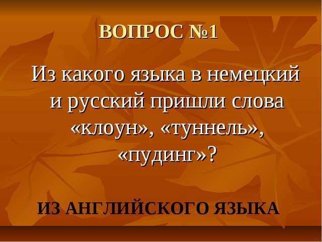 ВОПРОС №1 Из какого языка в немецкий и русский пришли слова «клоун», «туннель...