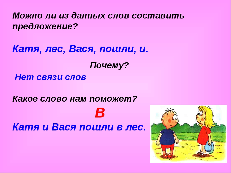 Можно ли из данных слов составить предложение? Катя, лес, Вася, пошли, и. Поч...