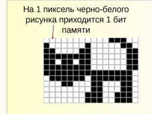 На 1 пиксель черно-белого рисунка приходится 1 бит памяти