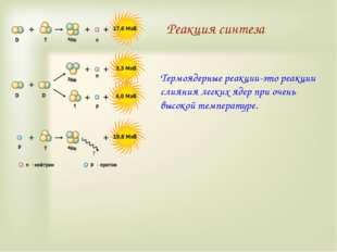 Реакция синтеза Термоядерные реакции-это реакции слияния легких ядер при очен