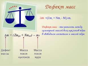 Дефект масс Дефект масс - это разность между суммарной массой всех нуклонов я