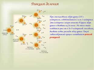 Реакция деления При столкновении ядра урана-235 с нейтроном, освобождается 2